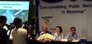 Launch of the report on 7 July 2015: David Hook, TAF, Kim N. B. Ninh, TAF and Tin Maung Than, MDRI-CESD