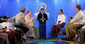 Dr Zaw Oo and fellow participants in the DVB debate