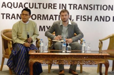 Two of the authors of the research paper, Kyan Htoo, CESD, and Dr Ben Belton, Michigan State University, take questions from the floor