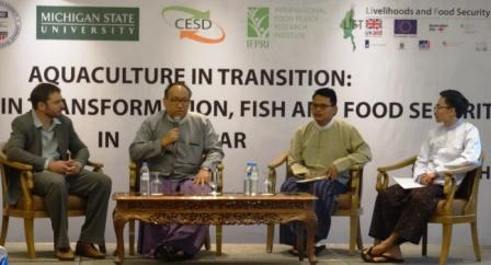 Policy discussion chaired by Dr Zaw Oo, CESD Executive Director, and supported by researchers and authors - Dr Ben Belton, MSU, Kyan Htoo, CESD and Aung Hein, CESD