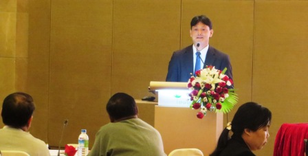 Mr Kyosuke Inada, Deputy Chief Representative of JICA Myanmar Office, presents to representatives from union, state and region governments at the public financial management workshop
