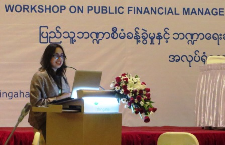 Cindy Joelene, CESD Research Associate, presents at the public financial management workshop
