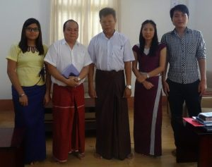 Left to right: Sandi Aung Moe, CESD Research Assistant, Aung Myo Min, Research Associate, U Ko Ko Linn , Deputy Director, Department of Labour Directive, Yangon Region government, Mai Betty, Admin Asssitant, and S Kanay De, Research Associate