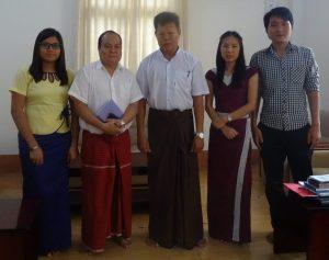 Left to right: Sandi Aung Moe, CESD Research Assistant, Aung Myo Min, Research Associate, U Ko Ko Linn , Deputy Director, Department of Labour Directive, Yangon Region government, Mai Betty, Admin Asssitant, and S Kanay De, Research Associate